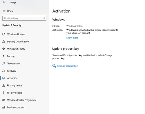 Windows 10 Licence Activation